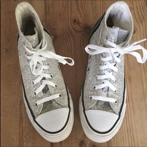 Converse All Stars Gray & White High Top Sneakers